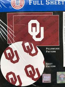 OU Sheet Set Full Double University of Oklahoma Sooners NEW Red & White NCAA r