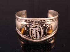 Huge Tibetan 2 Big Tiger Eye Gemstone Carved Kalachakra Amulet Cuff Bracelet