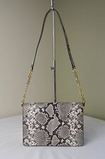 Michael Kors Natural Python Embossed Leather Brinkley Large Flap Shoulder Bag