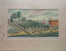 Antique Chicago Farm Print 1874 Will County Hand Colored Hartronft