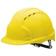 JSP EVO2 yellow vented mid peak comfort hard hat safety helmet slip ratchet