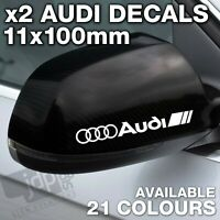 AUDI 2 x Wing Mirror DECALS VINYL STICKERS - For all Models - 21 COLOURS