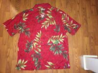 Havana Jack's Cafe Hawaiian Shirt Red Tropical Short Sleeve Rayon Men's XXL