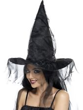 BLACK WITCHES HAT LADIES HALLOWEEN FANCY DRESS ACCESSORY WITCH HAT