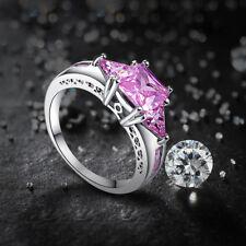 Fashion Pink Topaz Gemstone 14K White Gold Plated Ring Sz 10 Women Jewelry Gifts
