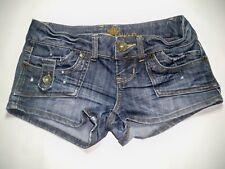 Almost Famous Womens Juniors Embroidered Distressed Denim Shorts ~ Size 1 28.5W