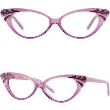 Acetate Full-Rim Frame with Spring Hinges Women's cat-eye Glasses Purple Crystal