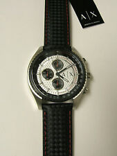 (M) ARMANI EXCHANGE DRIVER CHRONOGRAPH WATCH BLACK LEATHER BAND AX1611 NEW W/TAG