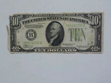 Federal Reserve Note 1934 10 Dollar Bill Green Seal Currency VTG NR Paper Money