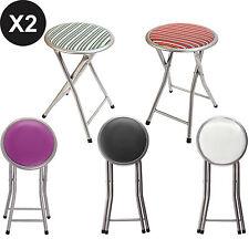 White 2Pcs Round Folding Padded Chair Breakfast Office Bar Stool Soft Pub Sea