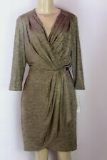 BRAND NEW MAGGY LONDON GOLD MARBLED SURPLICE FRONT 3/4 SLEEVE CASCADE DRESS 10