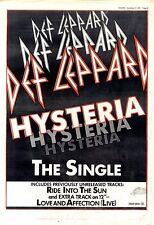 """21/11/87pg29 Single Advert 15x10"""" Def Leppard, Hysteria"""