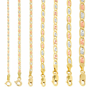 """10K Tri Color Gold 1.5mm-6mm Valentino Mariner Anchor Chain Necklace 16""""- 30"""""""