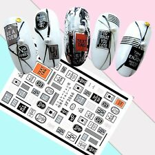 Nail Art Stickers Transfers 3D Self Adhesive Text SMS Tags (XF3066)