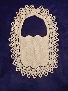 Vintage Hand Crocheted Baby Bib, Ivory Scalloped Edging