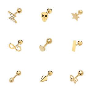 Solid 9k 9ct Gold Dainty Ear Cartilage Stud Helix Earrings Screw Back - 6mm post