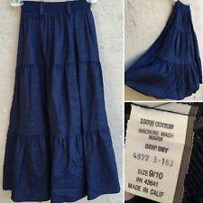 Vintage Denim Prairie Skirt Made In Calif 9/10 (XS S) Elastic Waist 70s 80s