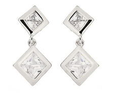 LUXURY CLIP ON EARRINGS - silver earring with two Cubic Zirconia stones - Cara S
