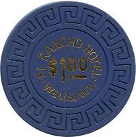 El Rancho Hotel Wells, Nevada NV $1 Large Key Mold Casino Chip
