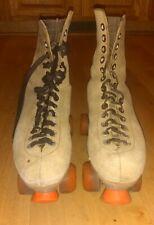 Vintage Beige Leather Roller Skates PACER plates size 11