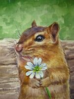 Watercolor Painting Chipmunk and Flowers Animals Nature ACEO Art