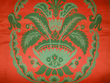 Antique Vintage French Red Green Medallion Tapestry Chair Upholstery Fabric ~