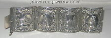 MAGNIFICENT EARLY 20th CENTURY MEXICAN ESTATE STERLING SILVER CUFF BRACELET RARE