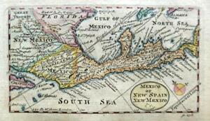 MEXICO  CENTRAL AMERICA   MINIATURE MAP BY COWLEY c1777 GENUINE ANTIQUE MAP