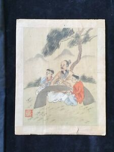 VINTAGE 1940/1950 Japanese ART WOodblock DATED AND SIGNED. Man Teacher.