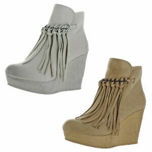 Sbicca Zing Women's Vegan Suede Fringe Wedge Bootie Boot Gray Size 9