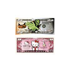 1 set of 2 diff. fantasy paper money Frankenstein and Hello Kitty