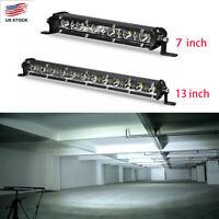 "7/13""Slim LED Light Bar Single Row Flood Spot for JEEP Offroad ATV  4X4 Truck US"
