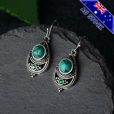 Genuine Boho 925 Silver Plated Natural Turquoise Tear Drop Dangly Hook Earrings