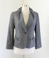 Talbots Solid Gray Wool Blend Gathered One Button Blazer Jacket Size 4 Career