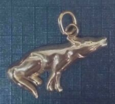 Fabulous 14K Solid White Gold Small White Wolf  Charm / Pendant