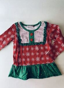 Jelly The Pug Girls Christmas Tunic Top Striped Snowflakes Red Green Size 5