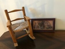 Vintage Oak and Wicker Doll Rocking Chair & Old Toys Framed Art Raggedy Ann