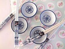 4 CHINESE JAPANESE BLUE WHITE 7cm SAUCE SERVING DISH CHOPSTICKS BIRTHDAY PARTY