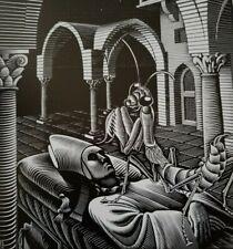 Dream Starry Sky Alien Looking Praying Mantis Sleeping Egyptian M C Escher Print