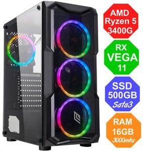 Gaming PC AMD RYZEN 5 3350G - RX VEGA - RAM 16GB - SSD 480 - FORTNITE Win10 RGB