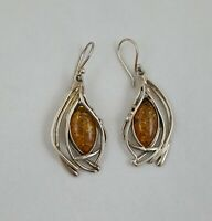 Vintage Signed Hagit Gorali 925 Sterling Silver And Amber Earrings Isreal