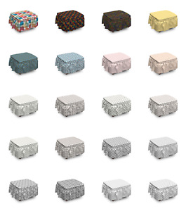Ambesonne Geometrical Ottoman Cover 2 Piece Slipcover Set and Ruffle Skirt