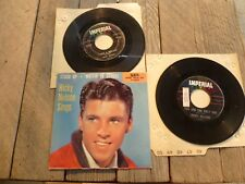 "RICKY NELSON 7"" 45 RPM Lot STOOD UP Picture Sleeve LONESOME TOWN MILK COW BLUES"