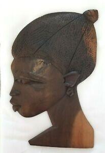 Vintage Hand-Carved Dark Wood Art Wall Decor Woman Folk Tribal Textured Hair