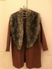 Topshop Faux Fur Brick Orange Coat Size: 8