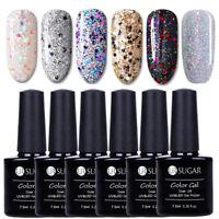 6Pcs/Set UR SUGAR 7.5ml Nail UV Gel Polish Glitter Sequins Nail Art Soak Off