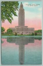 Baton Rouge Louisiana~State Capitol Reflected in Lake~Vintage Postcard