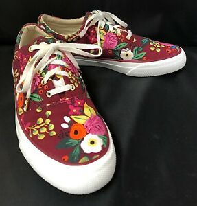 Women's x Rifle Paper Co. Floral Sneakers Burgundy size 8 Red Purple Maroon