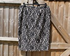 Phase Eight Black Floral Lace Tapework Pencil Skirt Size 16 VGC Party / Wedding