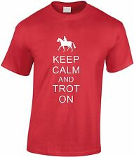 Keep Calm And Trot On Children's T Shirt Kid's Horse Riding Youth Jokey Tee Gift